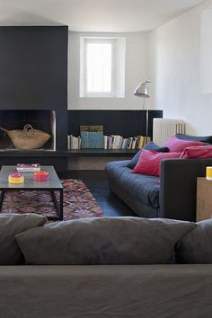 black fireplace and bench http://style-files.com/page/2/