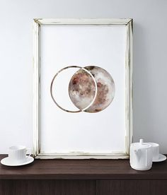 Moon Print/ Moon Phases Wall Art/ Geometric Moon Print/ Modern