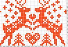 awwww reindeer in love Fair Isle Knitting Patterns, Knitting Charts, Loom Knitting, Knitting Stitches, Knitting Designs, Knit Patterns, Knooking, Fair Isle Chart, Cross Stitch Animals
