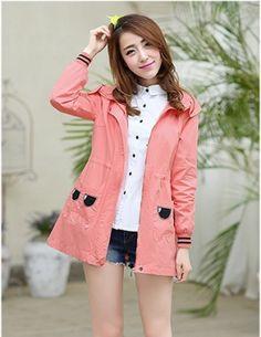 Áo khoác kaki túi kiểu màu hồng - A7821