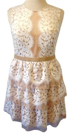 "BCBG Max Azria ""Sophea"" Off White Lace Dress With Tiered Skirt"