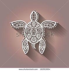 Decorative graphic turtle, tattoo style, tribal totem animal, raster illustration, lace pattern by Liukas, via Shutterstock