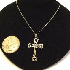 "New Sterling Silver Cross Has small rhinestone in the center ..new without tags measures 11"" drop or 22"" end to end Sterling silver Jewelry Necklaces"