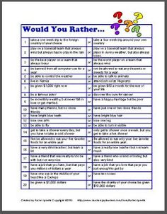 would you rather writing prompts - would be great for morning work!