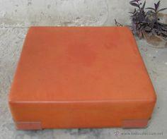 Vintage: puf taburete bajo cuadrado kartell Italia años 70 textil plastificado naranja Pacha Ibiza - Foto 4 - 55079753
