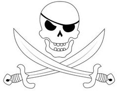Pirate Skull eye patch and crossed swords FREE stencil image artwork ...