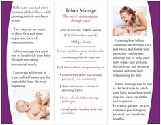 Beautiful Infant Massage Brochure