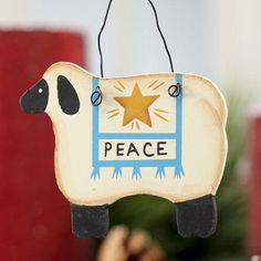 """Small Primitive """"Peace"""" Sheep Ornament $1.99 11/10/2014"""