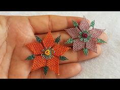 Needle lace Rosary headpiece Lilium Flower Images shot with sound narration have been published. Pakistani Bridal Dresses, Embroidered Clothes, Star Flower, Needle Lace, Flower Images, Knitted Shawls, Knitting Socks, Hand Embroidery, Tatting