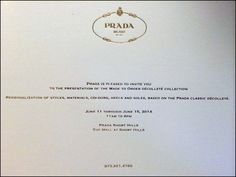 Don't think I am so highly rated a retail consultant as to merit a personal invitation from Prada®. Surely this… Retail Merchandising, Visual Identity, Close Up, Mall, Prada, Presentation, Invitations, Graphic Design, Retail