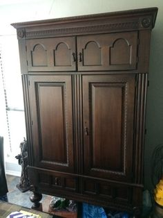 Wood armoire in Fort Worth, TX (sells for $350)