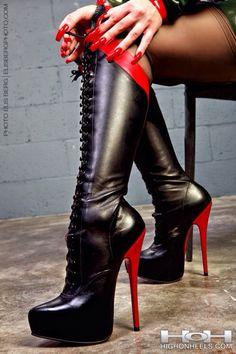 Sexy boots - love the red heels!! <3 http://stilettogarden.com