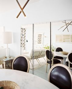 Mirrored walls in a living room