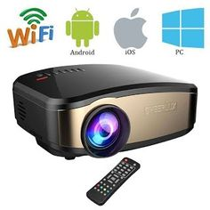 """""""Features & Benefits"""" Wifi Full HD Video Projector, VPRAWLS Wireless Mini Movie Projector Portable With HDMI USB Headphone Jack TV Good For Home Theater Game Movie XBOX ONE 120'' Max Dispaly"""