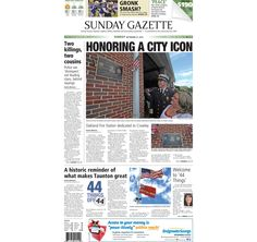 The front page of the Taunton Daily Gazette for Sunday, Sept. 27, 2015.
