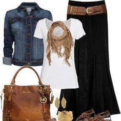 Dark navy, white tee, denim jacket, beige scarf, leather bag casual Friday! #summer #style #fashion
