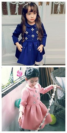 95ada57420ec Long Sleeve Dress Blue 2-3 Years(100cm)