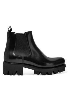 Prada - Leather Chelsea Boots - Black - IT35.5