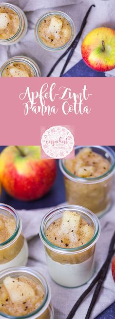 Apfel-Zimt-Panna Cotta – Rezept Recipe for apple cinnamon panna cotta – a delicious dessert for the fall or Christmas. Easy to do with vegetarian gelling agent by Dr. Pudding Desserts, Köstliche Desserts, Delicious Desserts, Apple Recipes, Snack Recipes, Dessert Recipes, Snacks, Dessert Oreo, Eat Dessert First