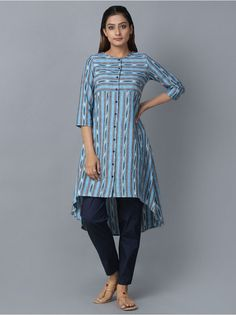 Turquoise Blue Cotton Ikat Asymmetric Kurta
