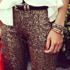 sequined pants.   We love sequin pants at Le Bel Age Boutique ......San Diego Ca
