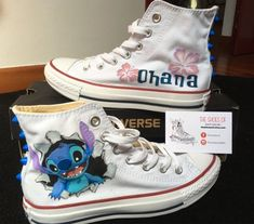 Sneakers Converse All Star, hand painted, custom Disney, Lilo and Stich Disney Converse, Converse All Star, Mode Converse, Disney Shoes, Converse Shoes, On Shoes, Me Too Shoes, Custom Converse, Custom Shoes