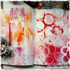 I love using these plastic canvas thingies as stencils.    ArtJOURNALINGfridays_jump-in_stencilprints_byTraciBautista