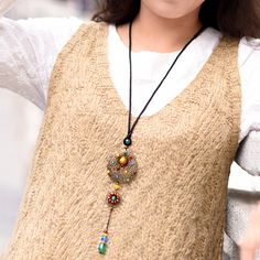 Handmade jewelry trendy ethnic necklace maxi long chain colored glaze bead agate bronze flower pendant