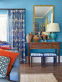 All Out Blue / If blue is your hue, go for it in an all-blue color palette. Vary the intensity of the hues, and stick to either the cool or warm side of blue for a coordinating look. Mix in a few warm accents, such as orange pillows, gold frames, or honey-hued wood furniture or floors. You'll end with a wow-worthy room