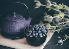 Teapot Photo, Blueberries, Tea, Healthy Lifestyle Blog Image, Instant Download Stock Photo For Blogs & Social Media