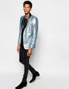Image 3 ofASOS Slim Blazer In Foil Print