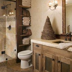 The rustic look of this bathroom is so nice!