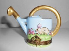 Limoges Trinket Box Watering Can Bunny Rabbit by Libbysmomsvintage