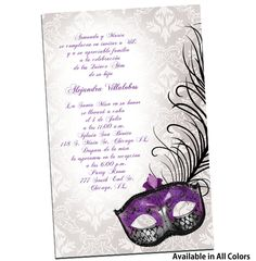 Invitaciones para Quinceanera Con Mascaras from QuinceaneraInvites.