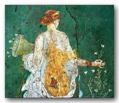 Roman paintings in ancient Pompeii.  Archaeological Museum, Naples, Italy