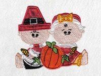 Applique Thanksgiving Babies Machine Embroidery Designs