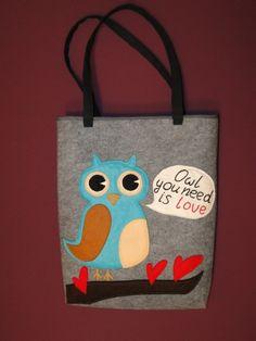 Owl you need is love - cute felt TOTE BAG