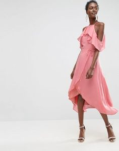 ASOS Cold Shoulder Wrap Front Midi Dress