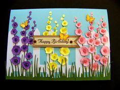 Hollyhocks birthday card