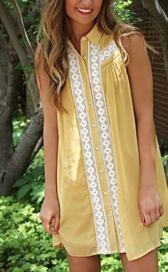 "preppy pleated crochet dress - mustard--get 15% off + Free shipping w/code ""RiffraffRepLauren"" at checkout on ShopRiffraff.com!"