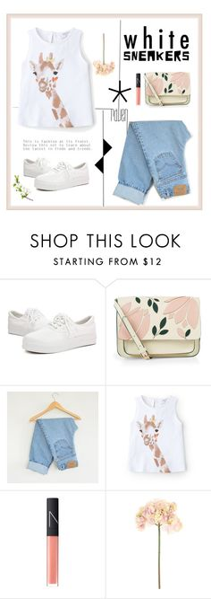 """White and Blue"" by pear-drop ❤ liked on Polyvore featuring Accessorize, Levi's, MANGO, NARS Cosmetics, Sia and whitesneakers"