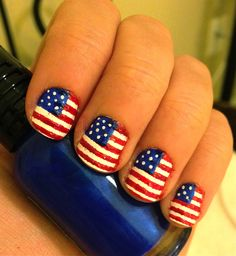 Painted American flag nails for 4th of July (all polish, no stickers)