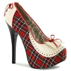 Bordello Teeze-26 Red Plaid Penny Loafer Platforms