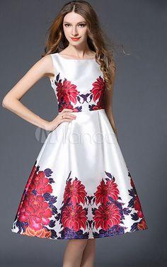 Vintage White Dress Floral Print Retro Dress via @bestchicfashion