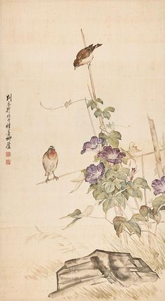 Two Songbirds and Morning Glory, Attributed to Liu Kui Ling