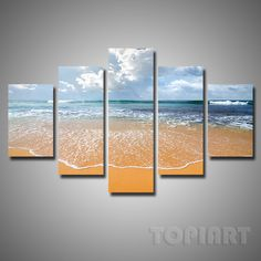 5 Pieces Multi Panel Modern Home Decor Beach Wave Wall Canvas Art Sunset Seascape Sands Paintings Room Panel With No Framed