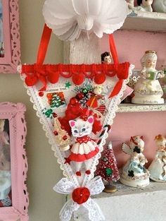 Vintage Style Pink Whimsical Holiday Christmas by saturdayfinds