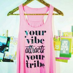 HP! ⭐ Your Vibe Attracts Your Tribe Pink Tank Top Host Pick! FEBRUARY 15TH 2016  Your Vibe Attracts Your Tribe Pink Tank Top Pink! Medium and large available. Cross-posted so comment for your size! Tops Tank Tops