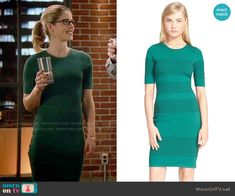 Felicity's green perforated dress on The Flash.  Outfit Details: http://wornontv.net/54506/ #TheFlash