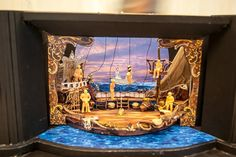 Here's a full color model for the  in-progress set of CTC's Production of Buccaneers. Designer Joel Sass was on site last week as the cast worked on using the trap-doors to get on and off the set. Would you like to be the pirate hanging upside down?